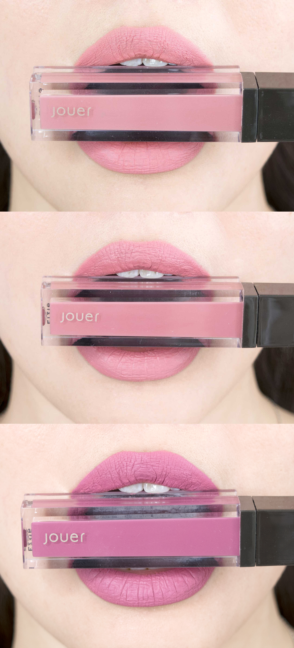Jouer Cosmetics Long Wear Lip Creme Liquid Lipstick Swatches Combined