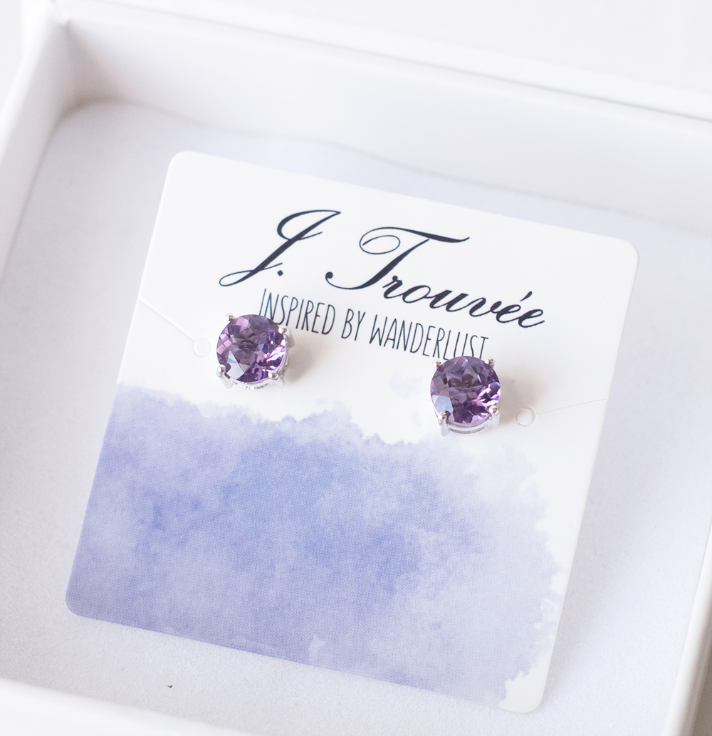 Trouvee.Co Amethyst Stud Earrings