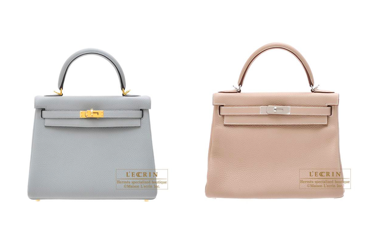 Hermès Kelly 25 in Blue Glacier and 28 in Agille via The Skinny Scout