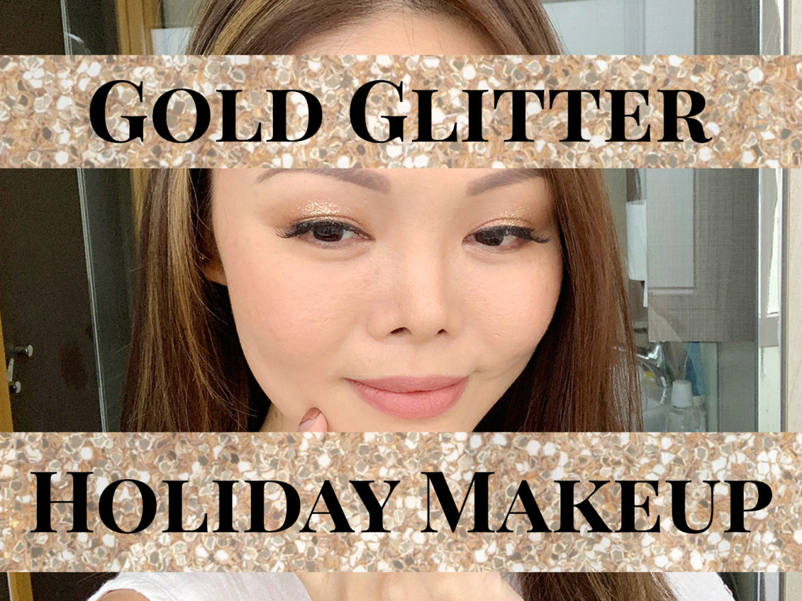 Gold Glitter Holiday Makeup 2019